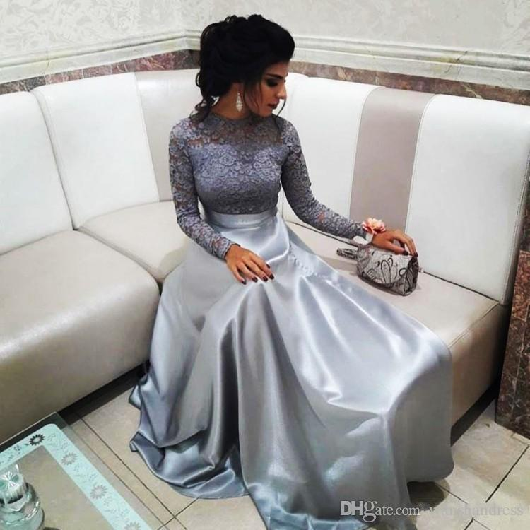 Modest Silver Lace Evening Dresses With Long Sleeves