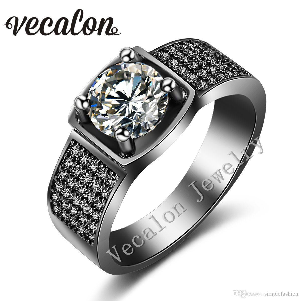 2017 vecalon prong set solitaire 3ct simulated diamond cz wedding