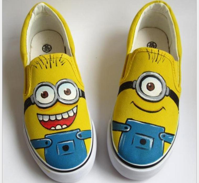 a6bace23aec3 Despicable Me Minion Shoes Minions Canvas Shoes For Women Men Sneakers 2015  Hot Couple Lovers Shoes High Hand Painted Shoes Size EU 35 44 Cheap Shoes  Shoes ...