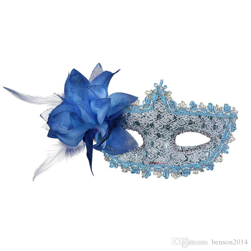 Wholesale Fashion Women Sexy mask Hallowmas Venetian flower masks feather Easter masks dance party holiday mask Hot selling