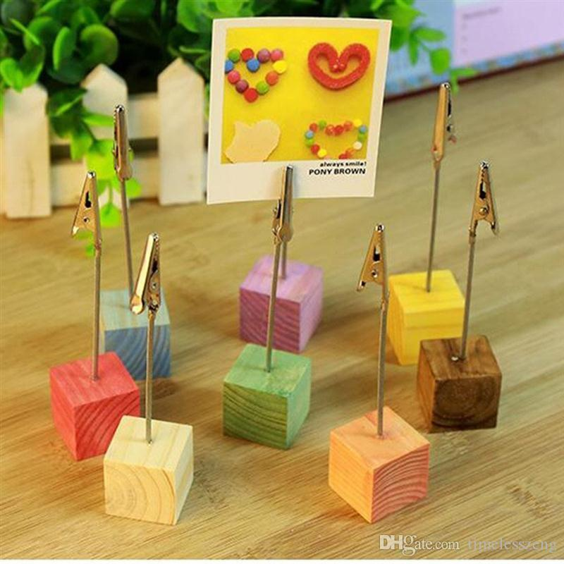 Pine Base Photo Holder Stand Card Note Desk Memo Clip Place Card Holder Wedding Table Decoration Favors