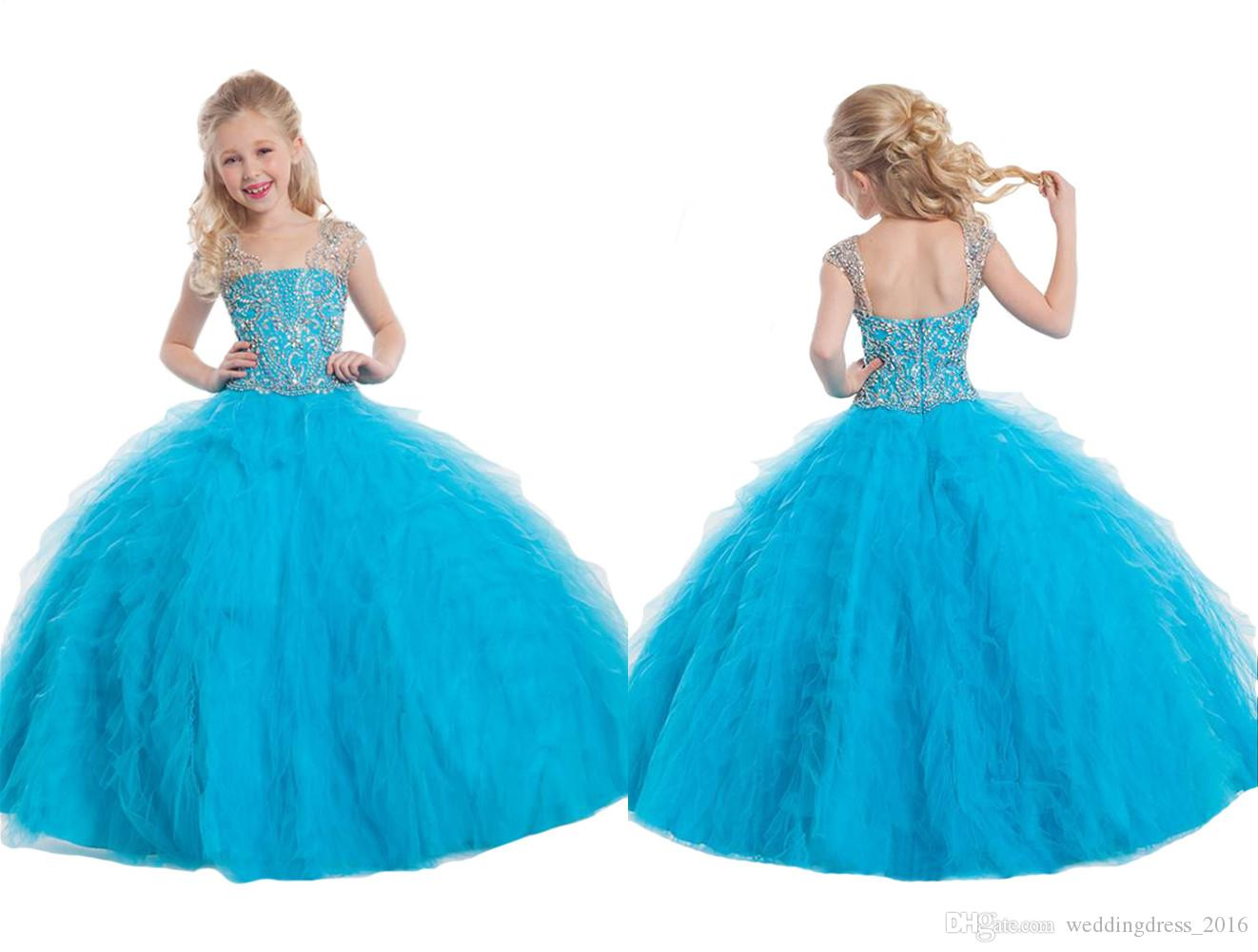 2016 Youthful Pageant Dresses For Little Girls Ball Gown Sky Blue ...