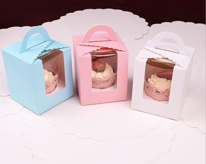 Elegant Cupcake boxes with transparent window cake box with handle Macarons box/muffin box free shipping
