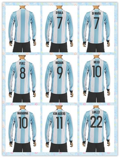 the latest e81da 3366e Fast Uniforms Kit 2016 Copa America Jersey Argentina #7 DYBALA #8 perez #9  HIGUAIN MESSI Soccer Jersey White Stripe Home Long Sleeve Jerseys