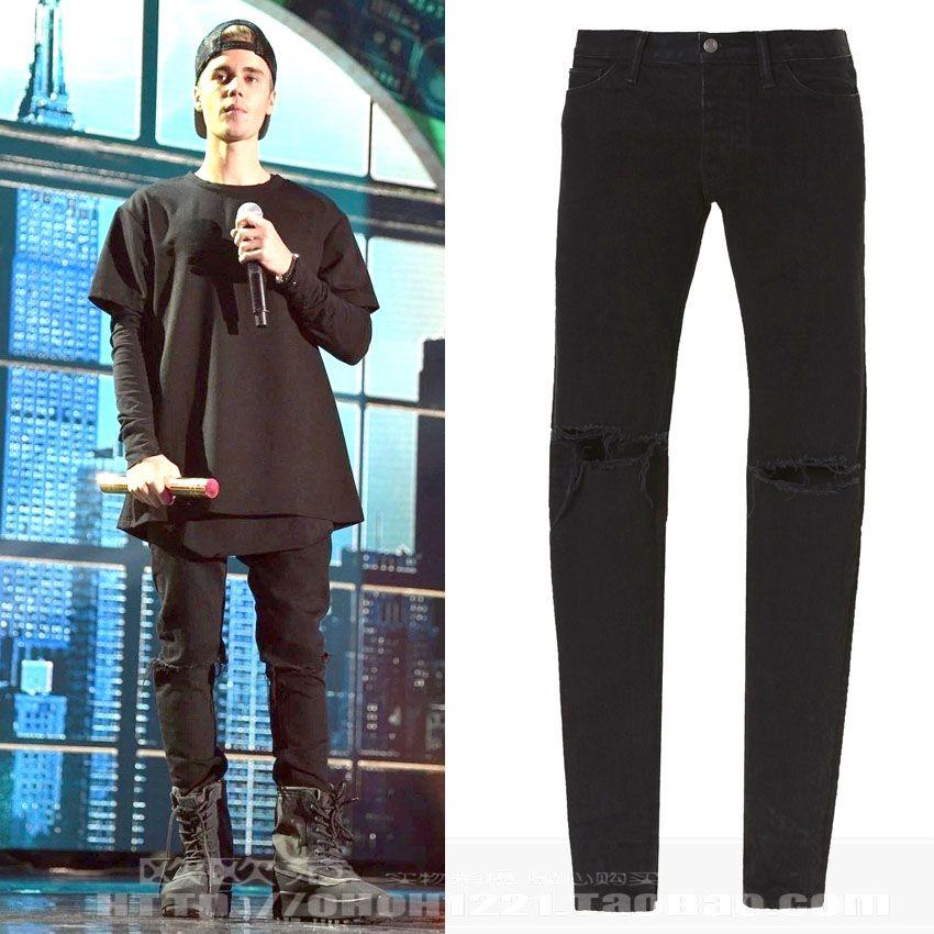 8f2576773f Compre Kanye West Moda Para Hombre Diseñador Ropa Urbana Jeans Ajustados Para  Hombres Negro Hip Hop Justin Bieber Pantalones Cremallera Miedo A Dios A ...