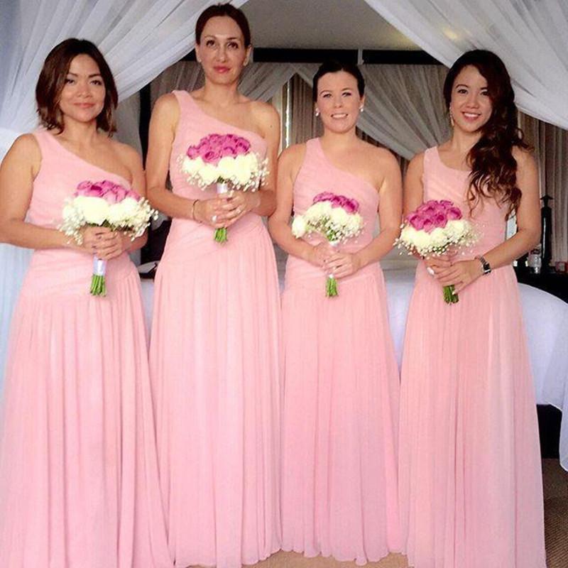 Einfache Brautjungfer Kleider 2016 Günstige Schulter Rosa Chiffon Sommer Strand Lange Für Hochzeit Plus Size Party Dress Trauzeugin Kleider