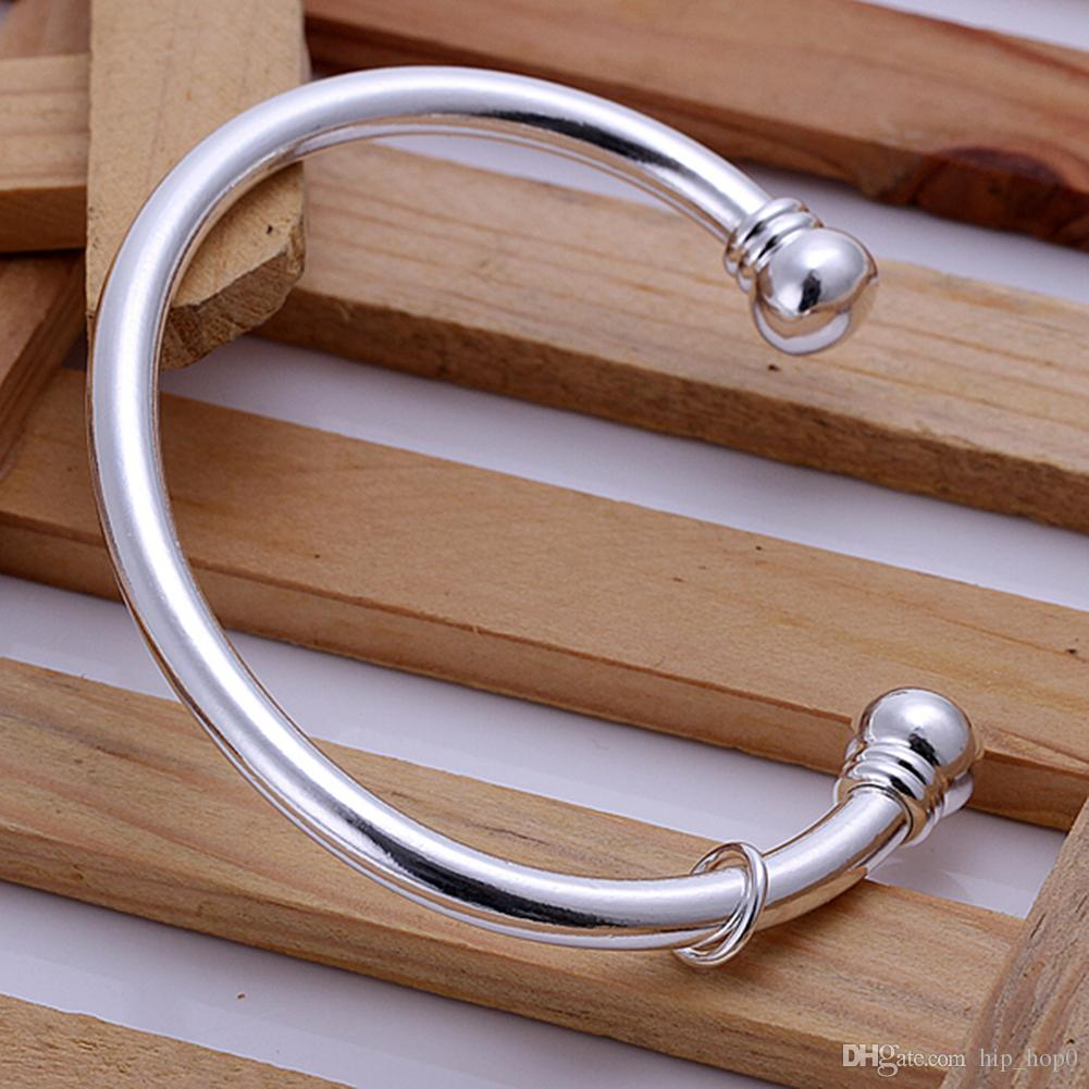 Sample Plated Cuff Bracelet 925 Jewelry Silver Plated Bangle Silver Fashion Jewelry Double Ball Open Bangle Bracelet Unisex Men's Jewelry