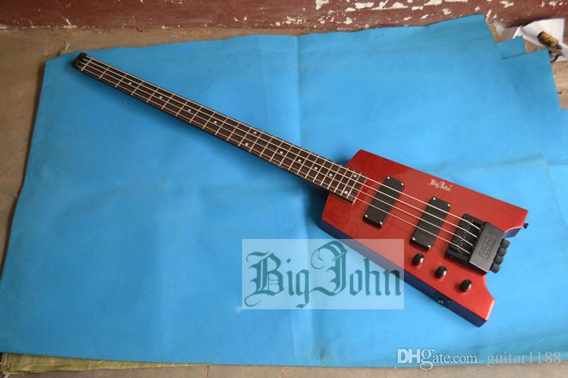 new Big John 4 strings left hand headless electric bass guitar in wine red with basswood body F-3319