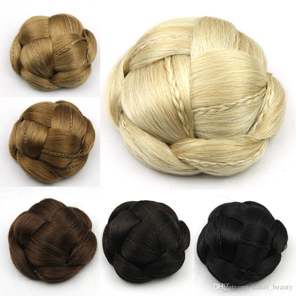 2017 Braided Clip In Fake Hair Bun Hair Chignon Fast Bun Donut Roller Hairpieces