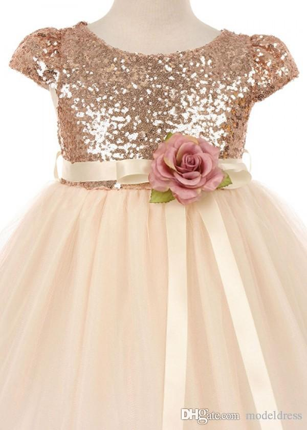 Real Image Rose Champagne Flower Girl Dresses for Weddings Jewel Sequins Cap Sleeve Modest First Communion Party Dresses for Child Teens