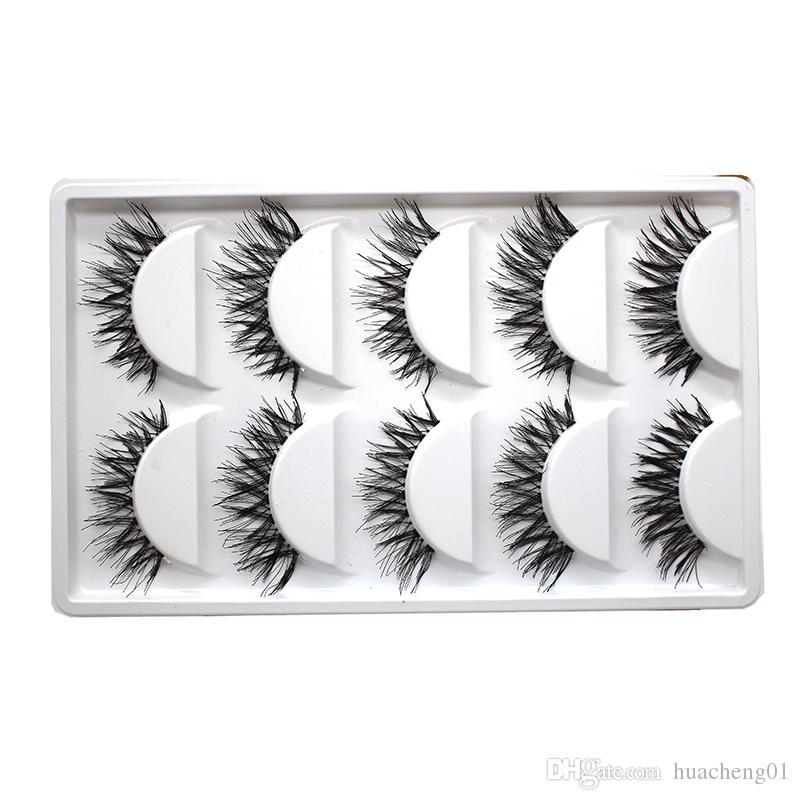Falsche Wimpern Verlängerungen Natürliche dicke lange gefälschte Wimpern Handgemachte Makeup-Werkzeug Kreuz unordentlicher Eyew-Wimpern