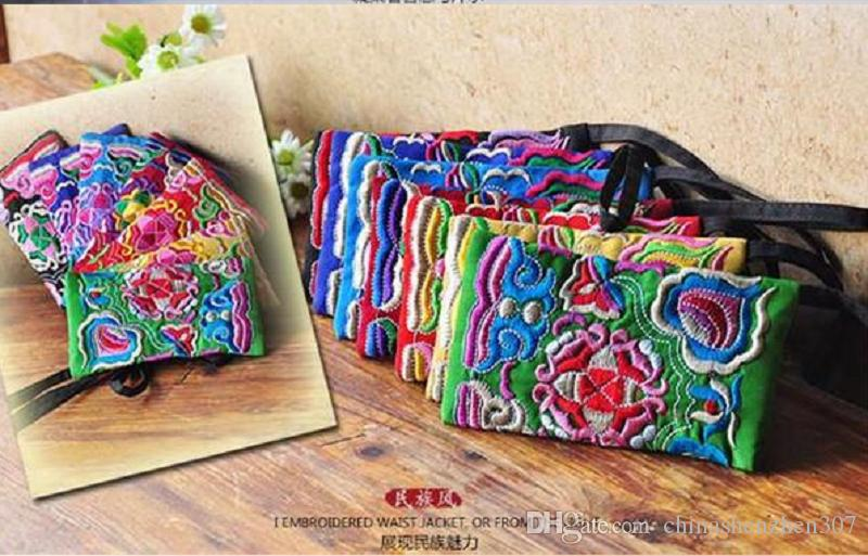 .National Style Women Clutch Bag a contrasto colore ricamo borsa cinturino da polso Elegante piccolo mini sacchetto del telefono mobile portafoglio Design unico