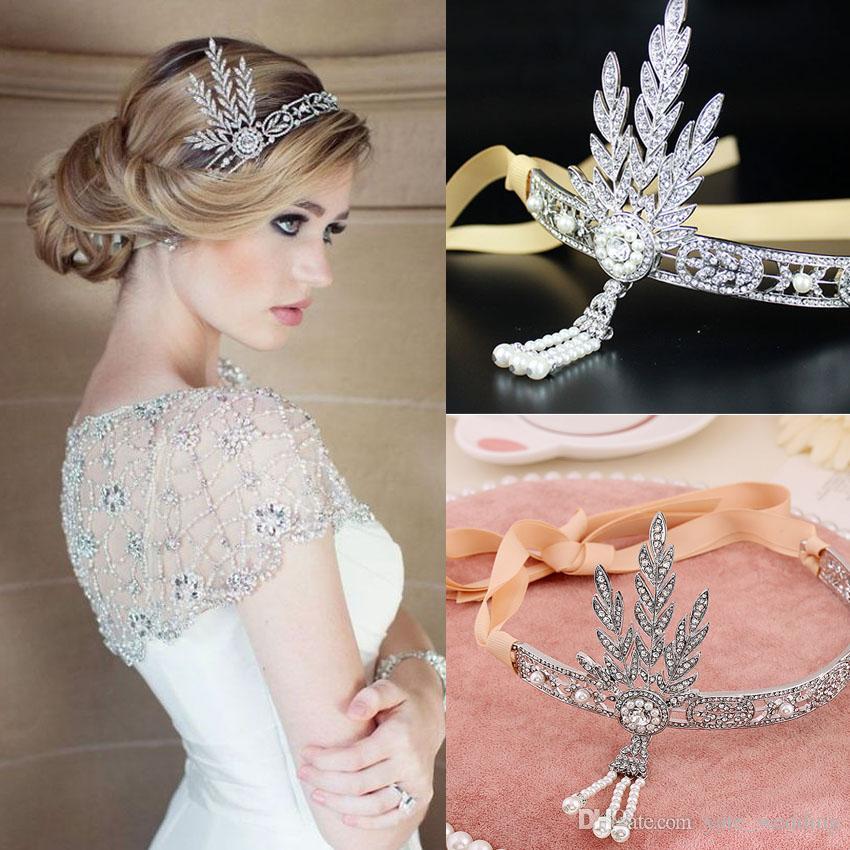 Diademas nupciales encantadoras Gran estilo Gatsby plata claro Rhinestone accesorios para el cabello Boho nupciales tocados de novia decoración del pelo gran venta