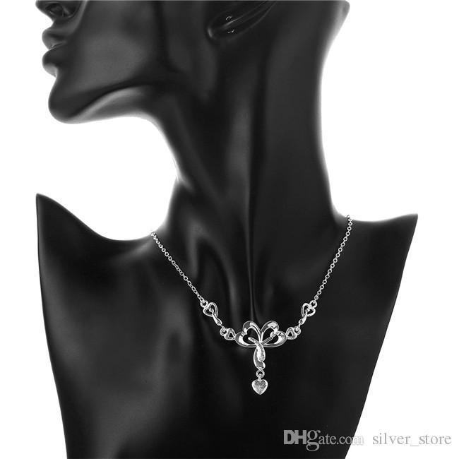 Meilleur cadeau Femme Double coeur Pendentif Collier Sterling Silver Plaque Collier STSN764, NOUVELLE MODE NOUVEAU 925 Collier Argent Noël