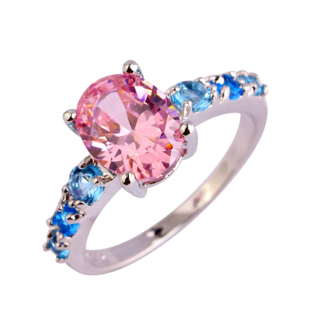 2018 Aaa Cz Lab Fashion Jewelry Pink Topaz 18k White Gold Plated ...