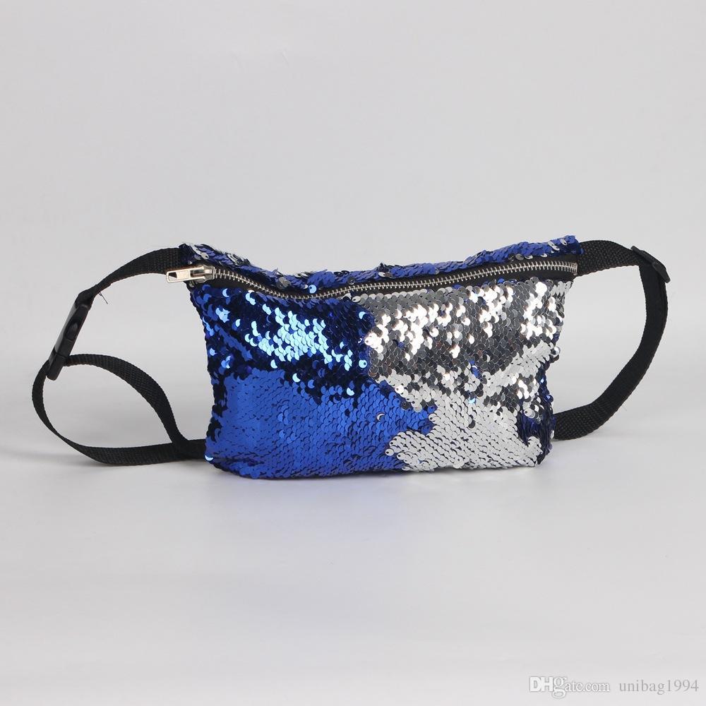 Sereia Glitter Multi-função Saco Da Cintura Dupla Lantejoulas Telefone Dinheiro Viagem Handy Fanny Pacote de Cintura Ao Ar Livre de Armazenamento Bolsa de Ombro de Viagem