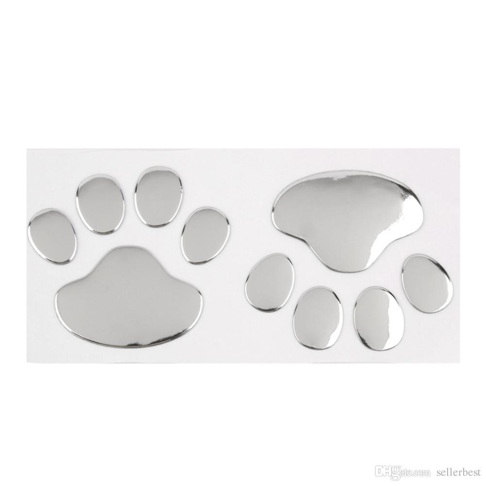 Diseño fresco Pegatina para el coche de la pata 3D Animal Perro Gato Oso Huellas del pie Huellas 3 M Calcomanía Pegatinas para coches Plata Oro