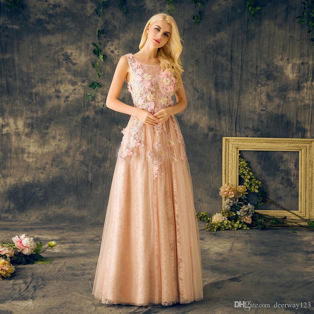 Perle di perline di cristallo con paillette Pizzo sexy Abiti da ballo convenzionali Abito lungo su misura Elegante tulle che borda abiti da sera con fiori 3D