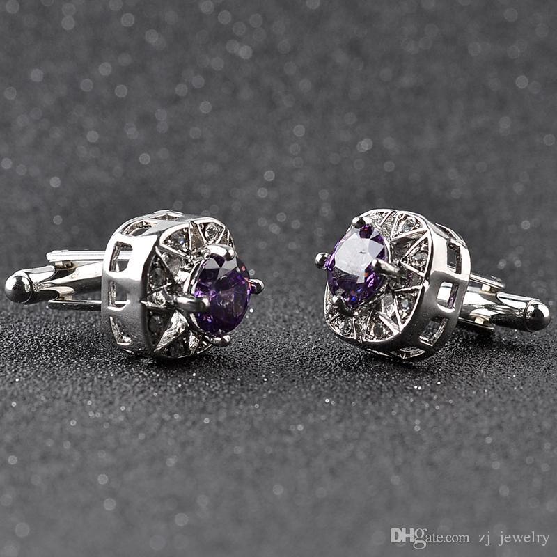 Hommes Purple Blue Crystal Boutons De Manchette Haute Qualité Avocat Groom De Mariage Zircon Boutons De Manchette Pour Hommes Chemise De Manchette Liens Gemelos Para Camisas