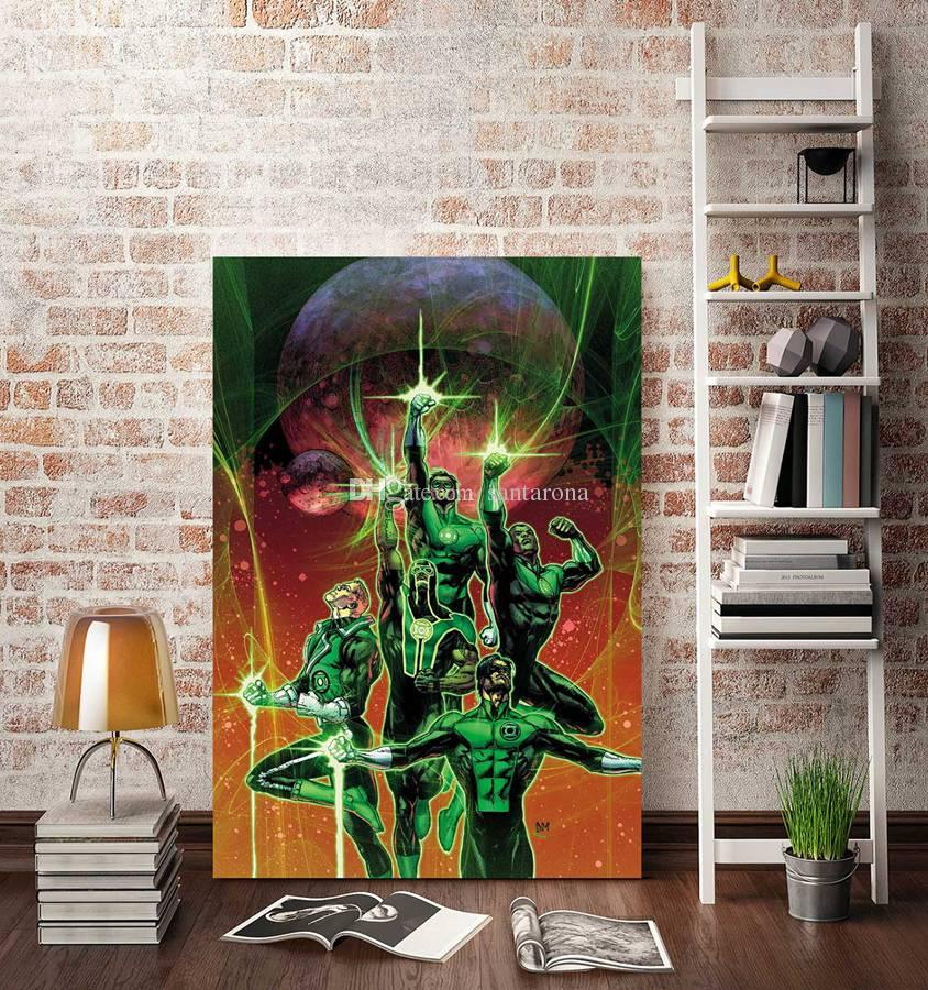 2018 No Frame Green Lantern Two Hd Canvas Print Wall Art Oil Painting Pictures Home Decor Bedroom Living Room Kitchen Decoration From Santarona ... & 2018 No Frame Green Lantern Two Hd Canvas Print Wall Art Oil ...