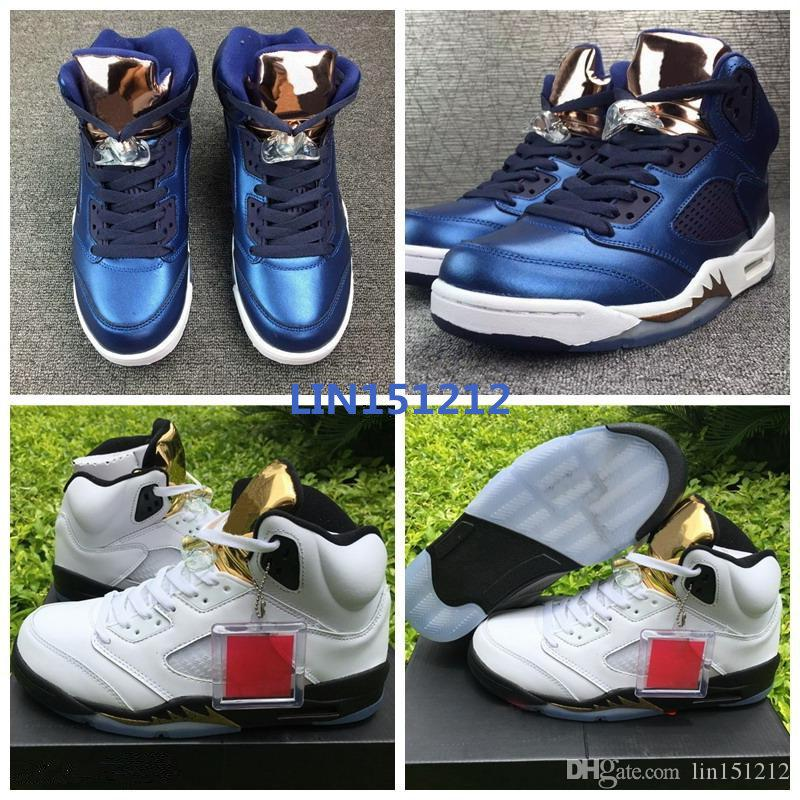 promo code ddcad 78a57 Wholesale Air Cheap 5 Coin Blue Olympic AIrs Basketball shoes V Obsidian  White Bronze 136027-416 Navy Blue 5s Sneaker for man