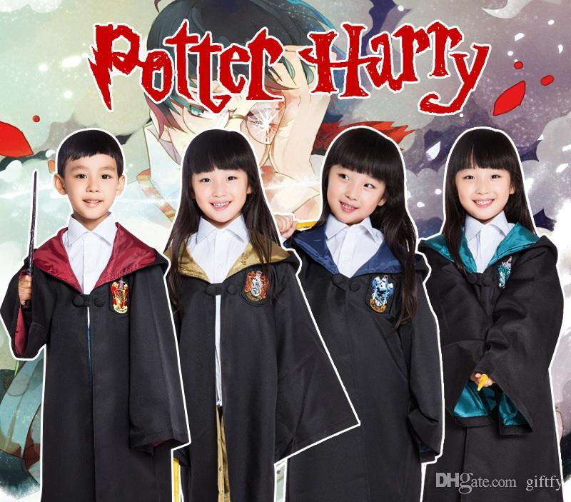 Free Shipping 4 styles Harry Potter Kids Cosplay Cloak Robe Cape Halloween Gift Cosplay Costume for children