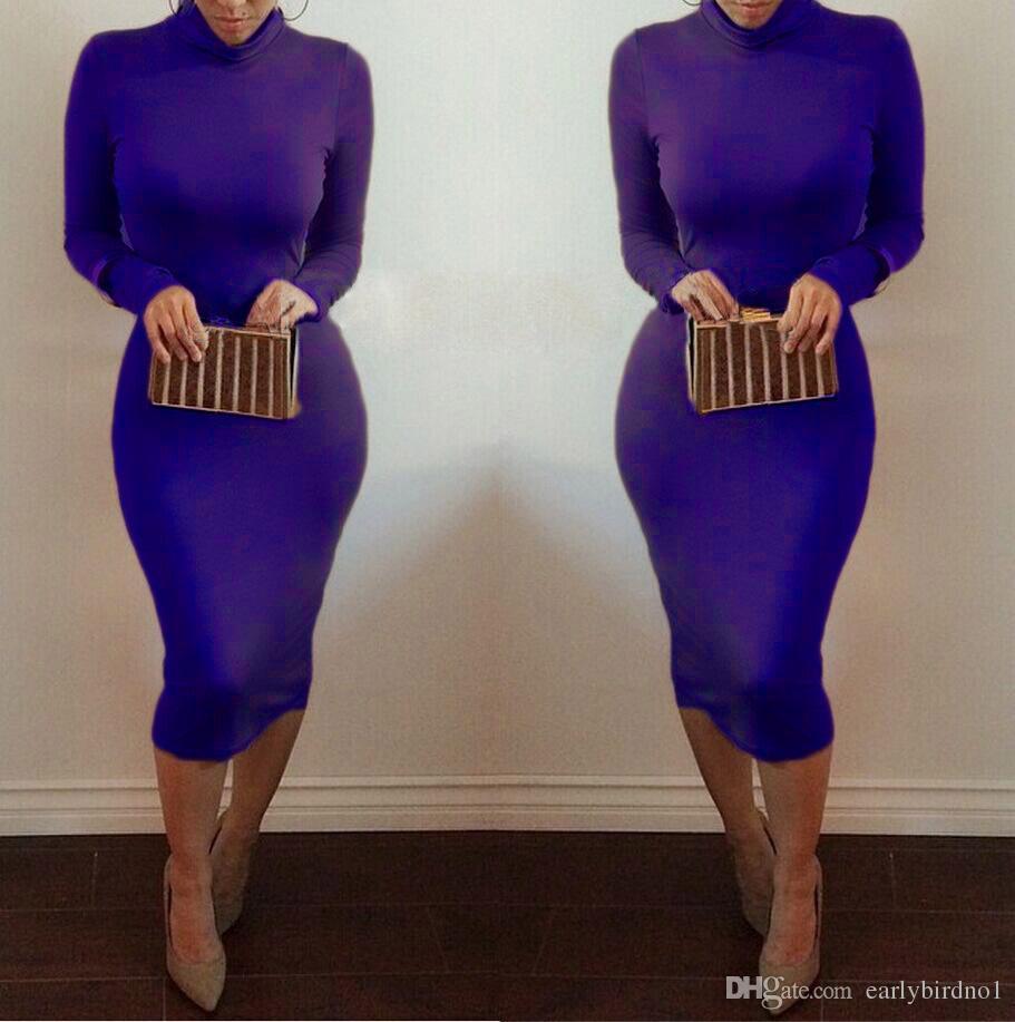 Vestidos mujer invierno kim kardashian cuello alto vestidos lápiz Bodycon más tamaño manga larga Sexy Club otoño partido vestidos del vendaje FS0716
