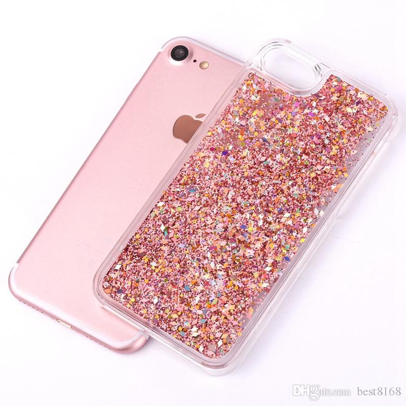 Pour Iphone XR XS MAX X 8 7 6 6S plus Étincelle liquide Quicksand dur PC + Soft TPU Film bling étoiles + Diamant Glitter flottant peau