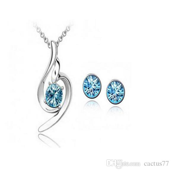 Fashion White Gold Austrian Crystal Jewelry Sets rhinestone Pendant Necklace Earrings Wedding Part Prom Jewelry Sets Can be Mixed