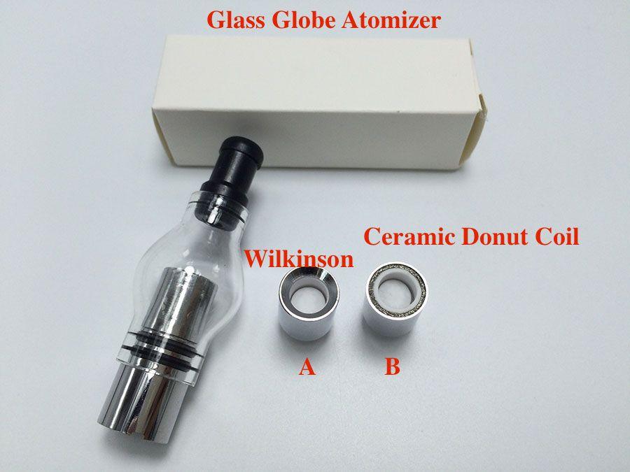 2016 Glass Globe Atomizer with Ceramic Donut Coil pyrex glass tank Wax Glass Globe Vaporizer for 510 thread battery