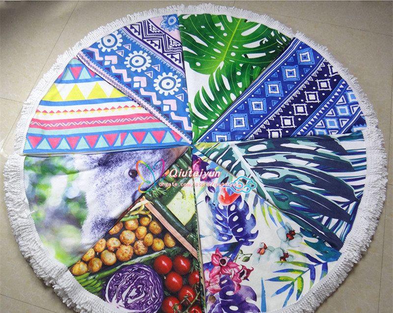 84 Types Round Beach Towel fiber Bath Towel Tassel Decor Geometric Printed Bath Towel Summer Style Round Bikini beach cover T395