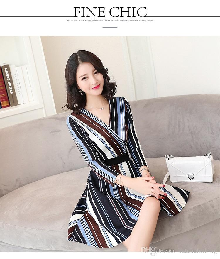 8f9717bf26 Autumn Ladies Dresses Deep V Collar Spell Color Vertical Striped Cotton Tight  Dress Long Sleeves Women OL Business Wear Winter Dresses Purple Dress From  ...
