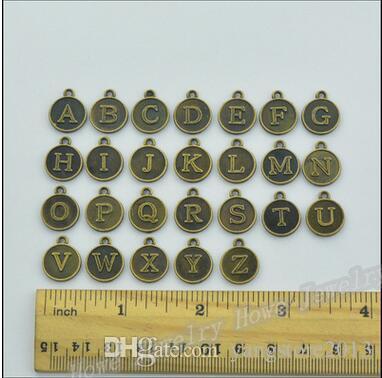Livraison gratuite Vintage Charms MIX lettre / alphabet Pendentif Antique argent / bronze Fit Bracelets Collier BRICOLAGE Fabrication de Bijoux En Métal