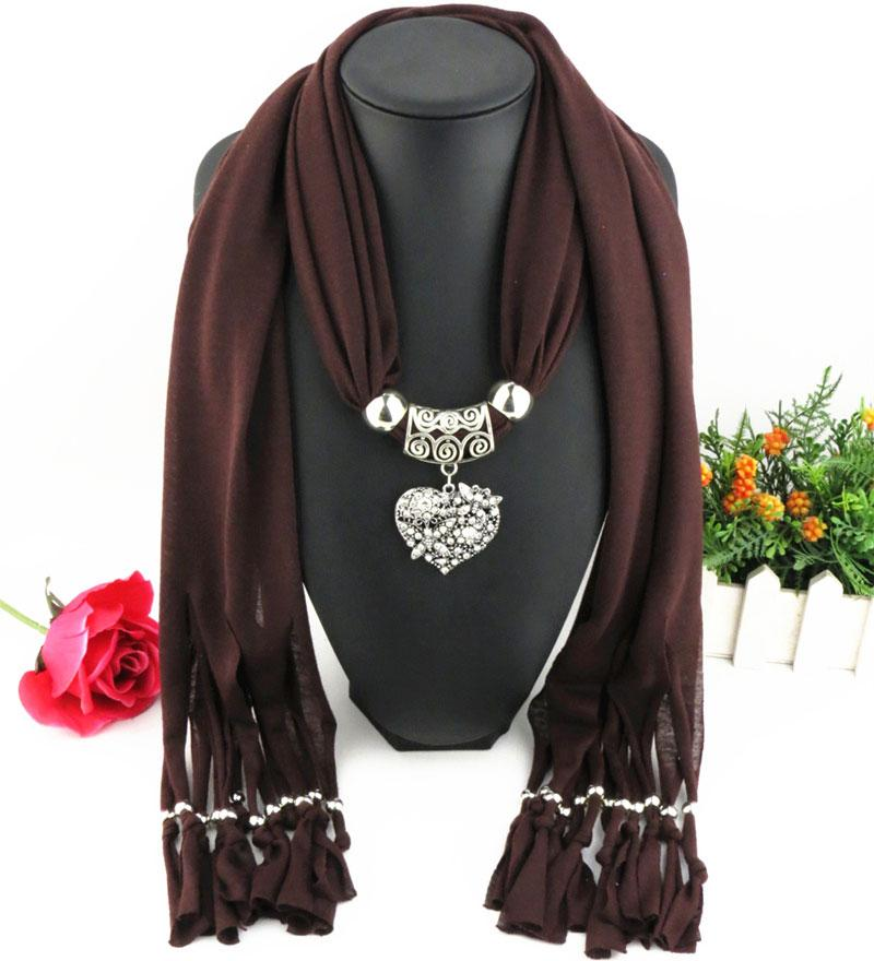 Newest Cheap Fashion Lady Scarf Direct Factory Rhinestones Heart Pendant Scarf Necklace Winter Scarf Women Neckerchief