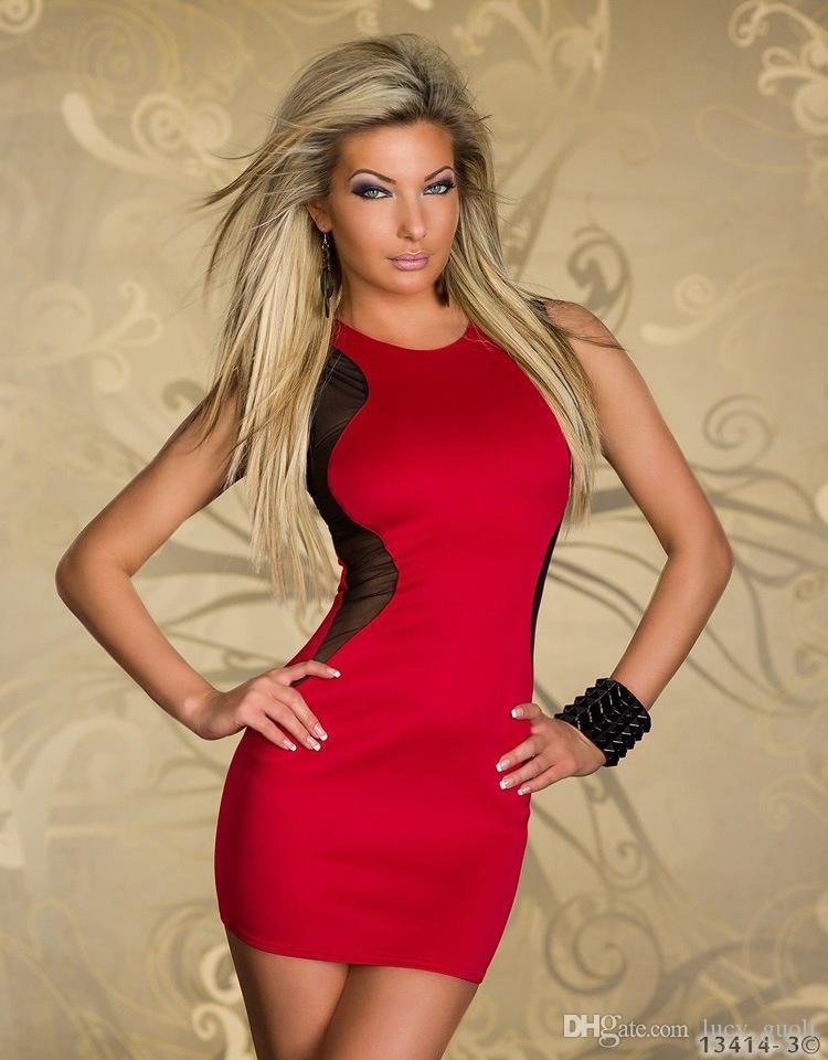 Hot New Rock Black Dress Fashion Faux Leather Dance Club Wear Patchwork Women Zipper Sexy Dresses Red Geometric Tank Style Dresses club wear