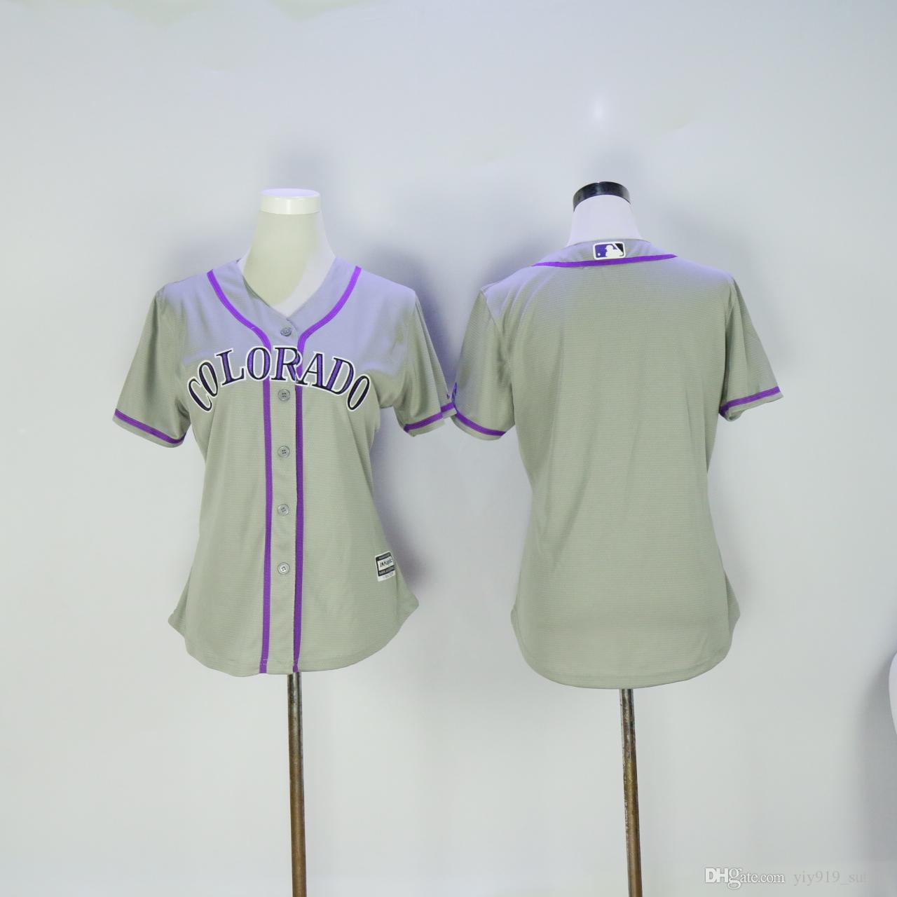 2017 new womens colorado rockies jersey blank grey with purple font cool base baseball jersey accept