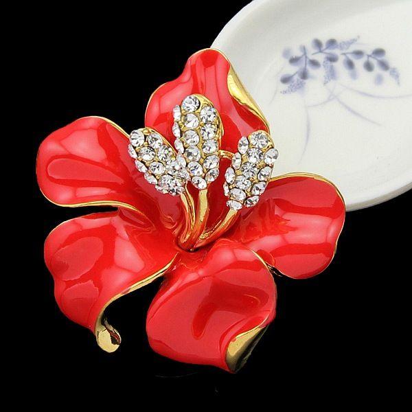 Broches de la boda Red Rose Broches Pins para las mujeres Crystal Enamel Flower es Mix / Wholesale