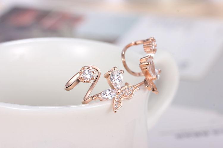 Moda clip polsino dell'orecchio di colore oro rosa alla moda di lusso orecchini clip di amore i monili delle donne all'ingrosso