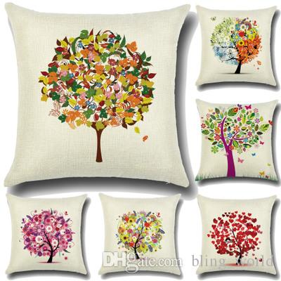 Fashion Pillow Case Garden Small Fresh Pillow Covers Cartoon Tree