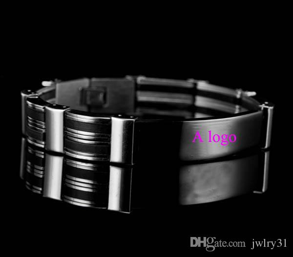 High Quality 20cm Men`s Silicone Stainless Steel Bracelet Silver Link Black Rubber Bangle Punk Leather Bracelets & Bangles