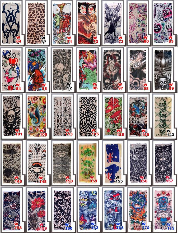 Newest Multi style Nylon seamless elastic Fake temporary tattoo sleeve designs body arm sleeve tatoo for cool men women sleevelet 2177