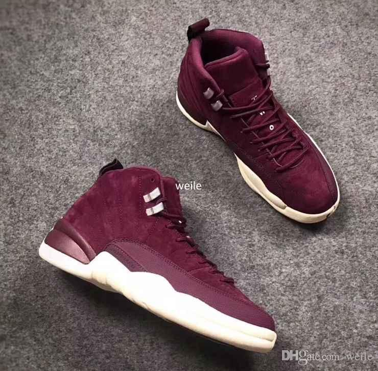 High Quality 12 Bordeaux Men Basketball Shoes PSNY 12s Wine Red Purple White Sports Trainers Sneakers Basket ball Shoe Size 8-13