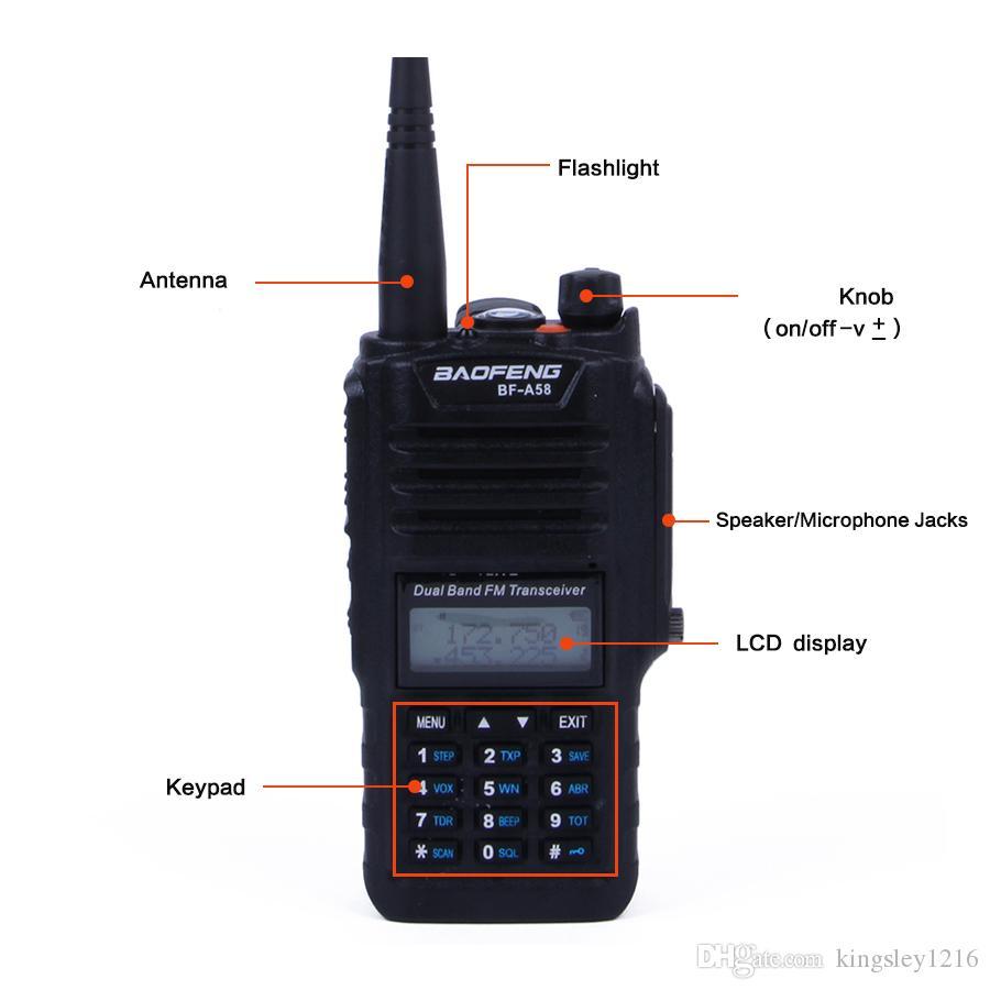 Baofeng BF-A58 rádio walkie talkie 5W rádio à prova d 'água vhf / uhf rádio irmã baofeng a52 888 s uv82 uv-5 r px-578 cb rádio yeasu