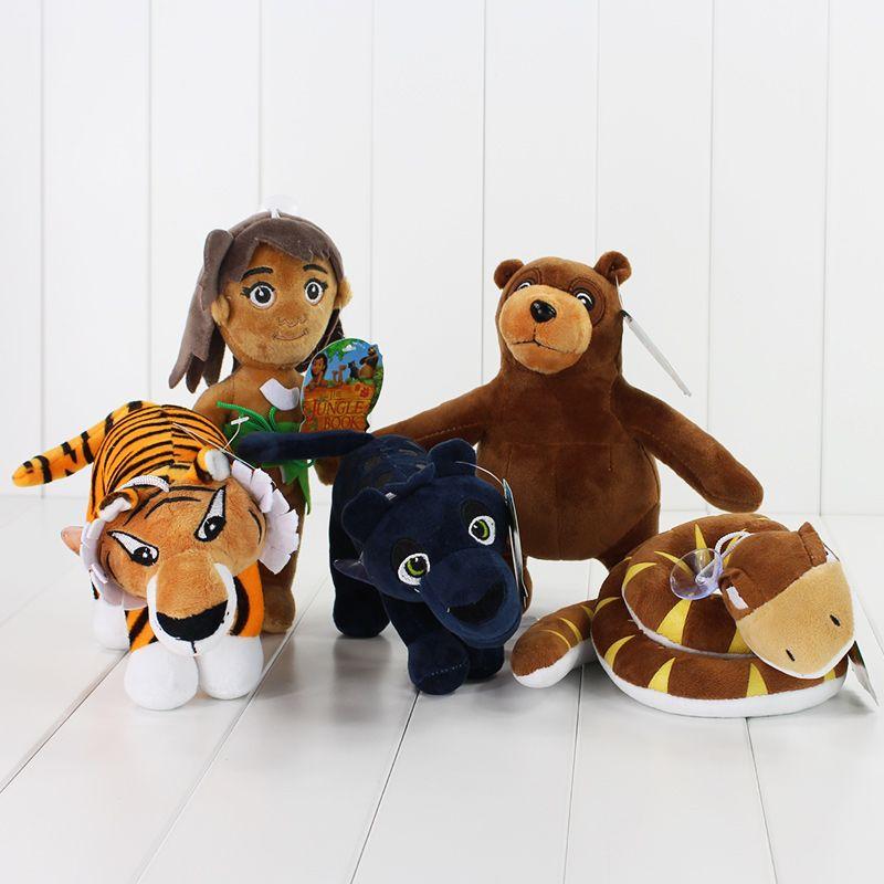 New 2016 Cartoon Movie The Jungle Book Plush Toys Mowgli Tiger Snake Bear Leopard Stuffed Animals Figure Toys 8.5-22cm