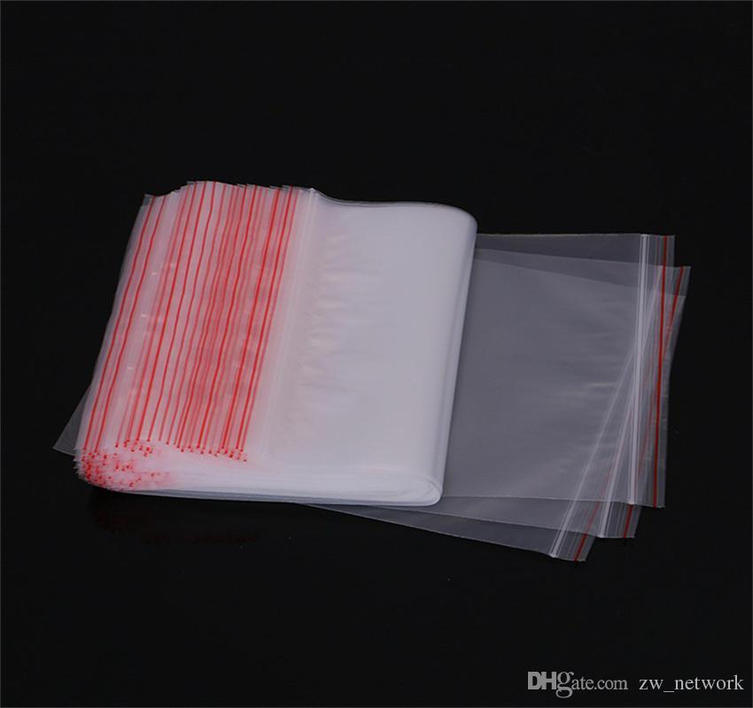 100 pz / lotto sacchetti di imballaggio trasparenti cerniera sacchetto di plastica auto-sigillante confezione di vendita al dettaglio confezione poli sacchetto chiusura lampo chiusura lampo sacchetto di immagazzinaggio pacchetto appendere foro