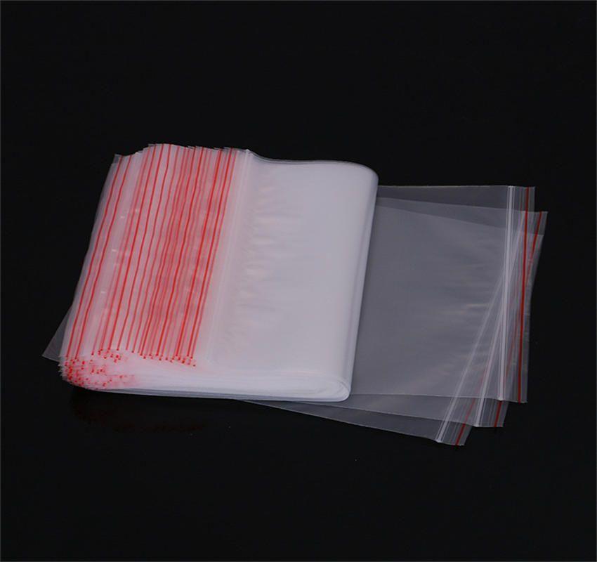 100 unids / lote bolsas de embalaje transparentes Cremallera Auto sellante Bolsa de plástico Paquete de embalaje al por menor Bolsa de polietileno Ziplock Zip Lock Bolsa de almacenamiento Paquete Hang Hole