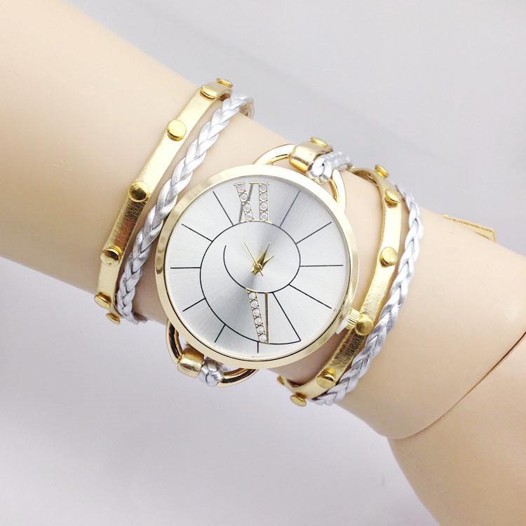 Diamond dial watch ribbon twine bracelet wrist watch women weave cuff quartz watch handress for Jewelry watches
