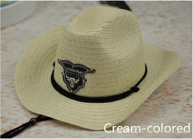 New Western Rodeo Cowboy Brown Straw Hat Studded Leather Bull Band Unisex Sun Beach Hat For Men Women