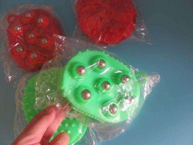 2ピースMeridiarnsスーパーソフトダブルフェイスブラシデバイスビーズマッサージブラシビューティケアブラシオイルグローブボールアンドローラーマッサージ