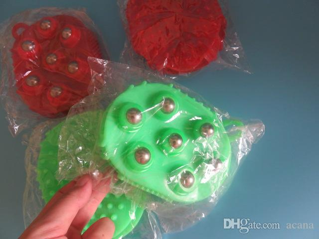 meridiarns Super-mjuk dubbel vändborstanordning pärlor massage pensel skönhetsvård pensel olja handskar boll-and-roller massage